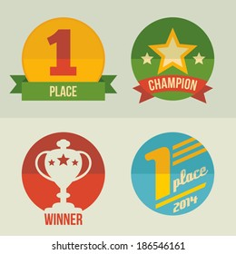 First place and winner cup icon set flat design