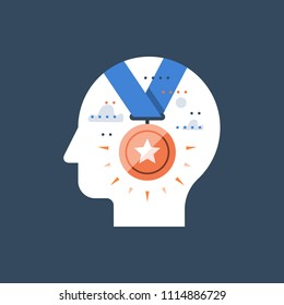 First result competition winner, golden medal award, employee of the month, successful accomplishment, incentive and motivation program, potential development, achievement mindset, vector flat icon