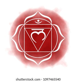 First, root chakra - Muladhara. Illustration of one of the seven chakras. The symbol of Hinduism, Buddhism. Red watercolor fog on background.