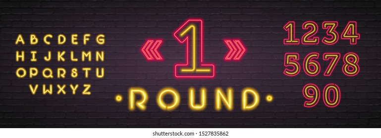 First Round Neon Light Glowing Vector Illustration. Boxing Round Neon Symbol Design Element Bright Glowing