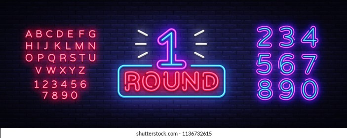 First Round is a neon sign vector. Boxing Round 1 bout, neon symbol design element Illustration neon bright, light banner. Vector Illustration. Editing text neon sign