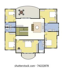 First Second Floor Plan Floorplan House Home Building Architecture Blueprint Layout