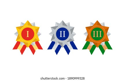 first second third degree sport or business awards, vector icons set