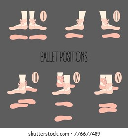 First second third fourth and fifth ballet positions. Illustration of legs with points, dance shoes on, demonstrating five basic dance moves