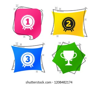 First, second and third place icons. Award medals sign symbols. Prize cup for winner. Geometric colorful tags. Banners with flat icons. Trendy design. Vector