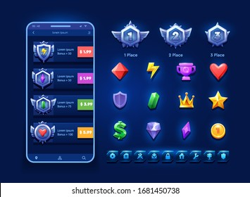 First second and third place icons Award medal. Оnline bonus store illustration and icon set for game design.For game, user interface, banner, application, interface, slots, game development.