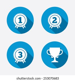 First, second and third place icons. Award medals sign symbols. Prize cup for winner. Circle concept web buttons. Vector