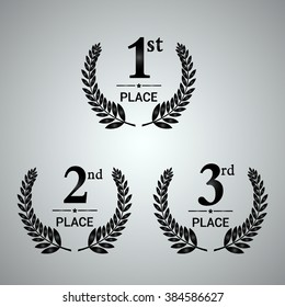 First, second and third place icons. Award symbol set. Vector illustration.
