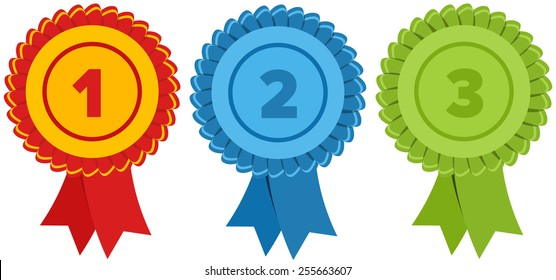 First, second and third place. Label with ribbons. Vector illustration.