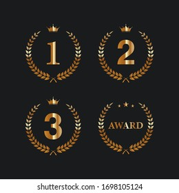 First, second and third winner icons. Award symbol set. Vector illustration.