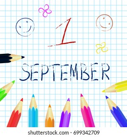First september poster, education background. Set of colored pencils. Vector illustration
