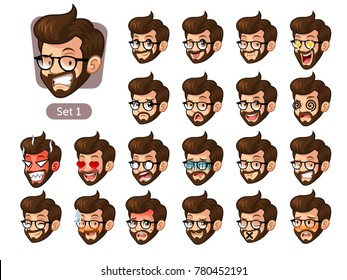 The first set of bearded hipster facial emotions cartoon character design with glasses and different expressions, pleased, rage, in love, ill, silent, grumpy, irritated, shy, worried, etc. vector.