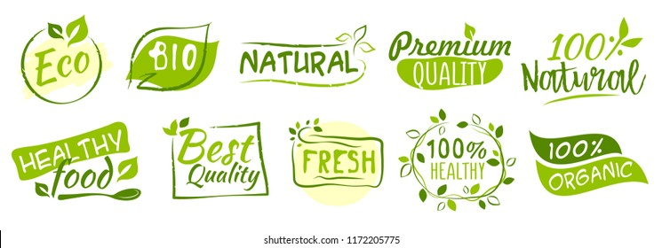 First set of Bio and Eco stickers, vector illustration for graphic and web design