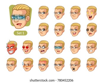 The first set of male facial emotions cartoon character with blonde hair and different expressions, pleased, rage, in love, ill, silent, grumpy, irritated, shy, worried, etc. vector illustration.