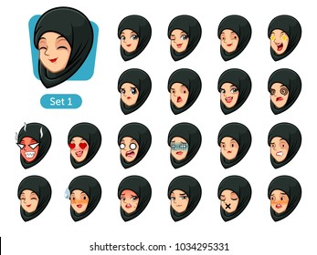 The first set of muslim woman wearing a black hijab cartoon character avatars with different facial emotions and expressions, pleased, rage, in love, ill, silent, grumpy, irritated, shy, worried, etc.