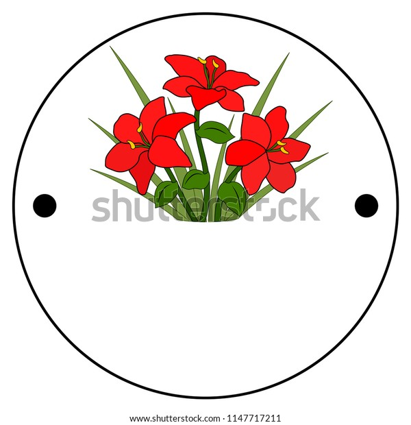 The first side of the Thaumatrope, old animated optical toy of the 19th century, Taumatrop, Bouquet or flower bed of red flowers, six petals and grass, green leaf and stem
