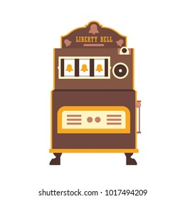 First slot machine Liberty Bell. Retro gambling casino item. Vector illustration.
