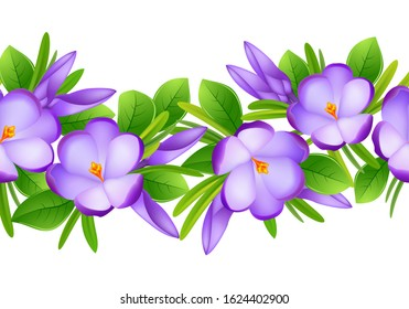 First spring flowers. Seamless spring pattern of purple crocuses, green leaves and fresh grass. Floral decor. Eps 10