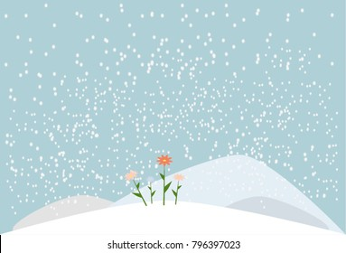 First spring flowers in the snow