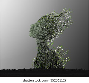 first spring sun, tree rise, tree branch looks like a woman's head stretching her face to the sun, nature icon concept, plant life, surrealism, vector
