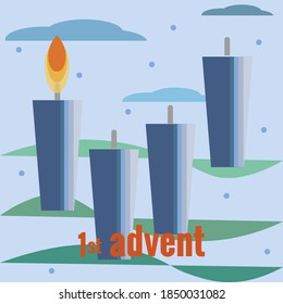 First Sunday of Advent. Four candles, one burning candle, snow, clouds, Christmas tree branches. Vector illustration in flat style. Christmas countdown, for social networks, banners.