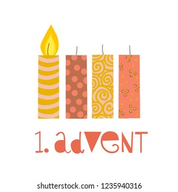First sunday in advent vector illustration. One burning advent candle. Erster Advent german text. Flat Holiday design with candles on white background. For greeting Holiday card, posters, Christmas
