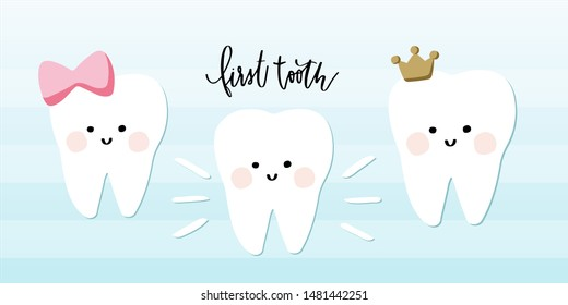First tooth girl kawaii clipart. Teeth with pink cheeks, bow, crown. Calligraphy hand lettering to create greeting cards, wall art, dental posters, dentist brochure, party decoration and invitation.