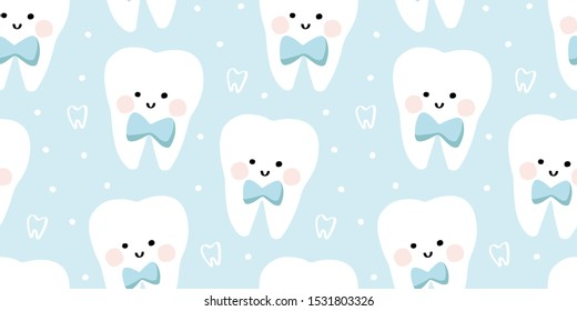 First tooth kawaii seamless pattern with bow tie, dots and smiling teeth, blushing cartoon characters. Pastel blue, golden khaki and white cute molar teeth vector stock repeat pattern.