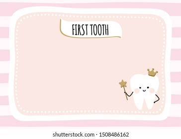 First tooth party invitation for a baby girl with a fairy, magic wand and golden crown. Pink stripes background and peach frame with tiny dots stars. Smiling tooth kawaii character with blush cheeks.