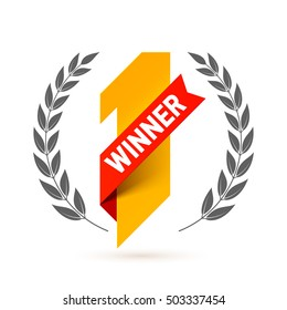 First winner, number one illustration with red ribbon and laurel wreath. Vector.