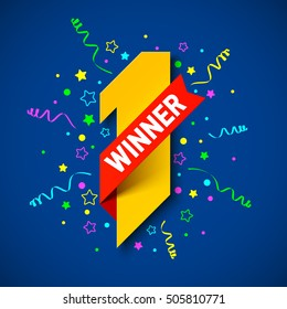 First winner, first place. Number one illustration with red ribbon and confetti. Vector illustration.