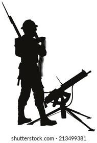 First World War soldier with mashine gun detailed vector silhouette. EPS 8