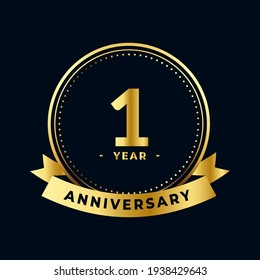 First Year Anniversary Celebration Gold and Black Isolated Vector