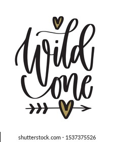 First year baby birthday lettering. Wild one cut file with arrow and hearts. Girl bodysuit sublimation print design.