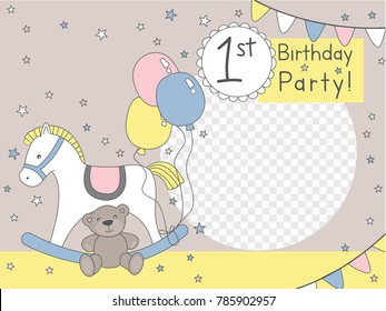 First year birhtday bacground for photo frame with horse and teddy bear and baloons wit stars greeting car invitation banner photo wall