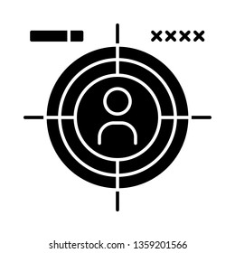 First-person shooter glyph icon. Esports. Shooter video game. FPS. First-person perspective. Silhouette symbol. Negative space. Vector isolated illustration