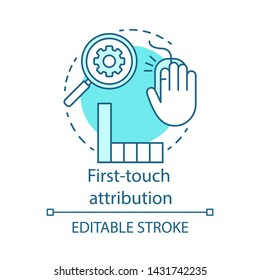 First-touch attribution blue concept icon. Digital marketing channel analysis idea thin line illustration. Attribution modeling type. Web analytics. Vector isolated outline drawing. Editable stroke