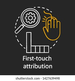 First-touch attribution chalk concept icon. Digital marketing channel analysis idea. Attribution modeling type. Web data analytics. Vector isolated chalkboard illustration