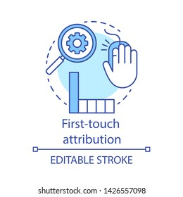 First-touch attribution concept icon. Marketing channel analysis idea thin line illustration. Attribution modeling type. Web data analytics. Vector isolated outline drawing. Editable stroke