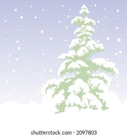 Fir-tree, Xmas Vector Background