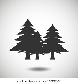 Fir-trees black icon, silhouette and vector logo. Flat isolated element. Nature sign and symbol