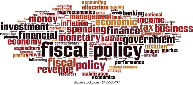 Fiscal policy word cloud concept. Collage made of words about fiscal policy. Vector illustration