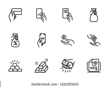 Fiscal system line icon set. Credit card, loan, investment, donation. Finance concept. Can be used for topics like money, charity, startup