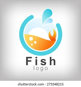 fish in abstract  design for logo and business and graphic design
