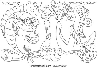 Fish And Anchor In The Sea Coloring Book Funny Dinosaur A Cartoon Vector Isolated Character
