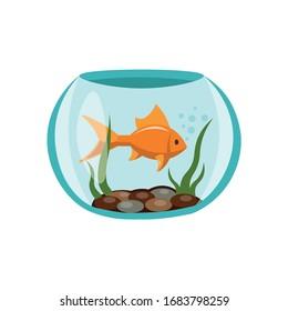 fish in aquarium illustration design element. sea life flat icon.