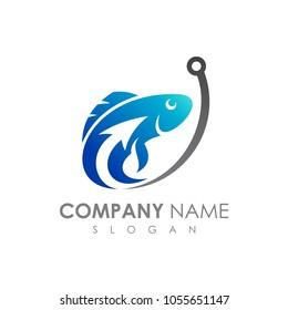Fish With Arrow Fishing Logo Template