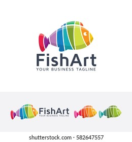 Fish Art, animal, abstract, art, studio, fish, food, color, colorful, design, graphic. Vector logo template