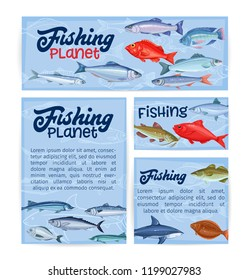 Fish banners. Seafood , cartoon salmon, anchovy, codfish, sea bass, ocean perch and sardine. Icon mackerel, herring, dorado tuna halibut tilapia and trout. Sea fishing template design