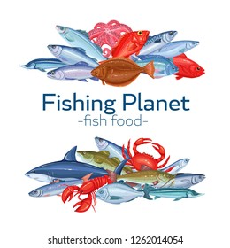 Fish banners. Seafood vector illustration, salmon, anchovy, codfish, sea bass, ocean perch and sardine. Icon mackerel, herring, dorado, tuna halibut tilapia and trout